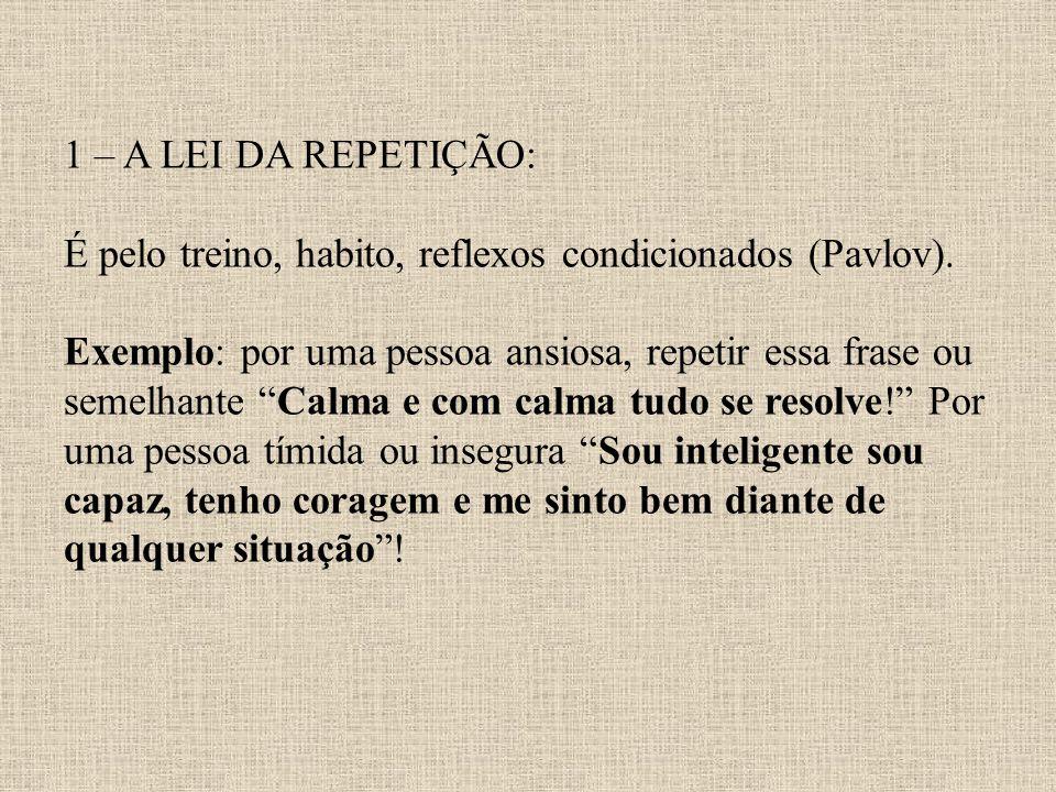 1 – A LEI DA REPETIÇÃO: É pelo treino, habito, reflexos condicionados (Pavlov).