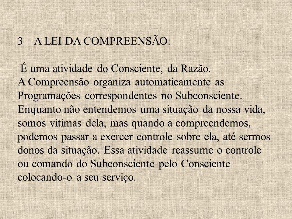 3 – A LEI DA COMPREENSÃO: É uma atividade do Consciente, da Razão