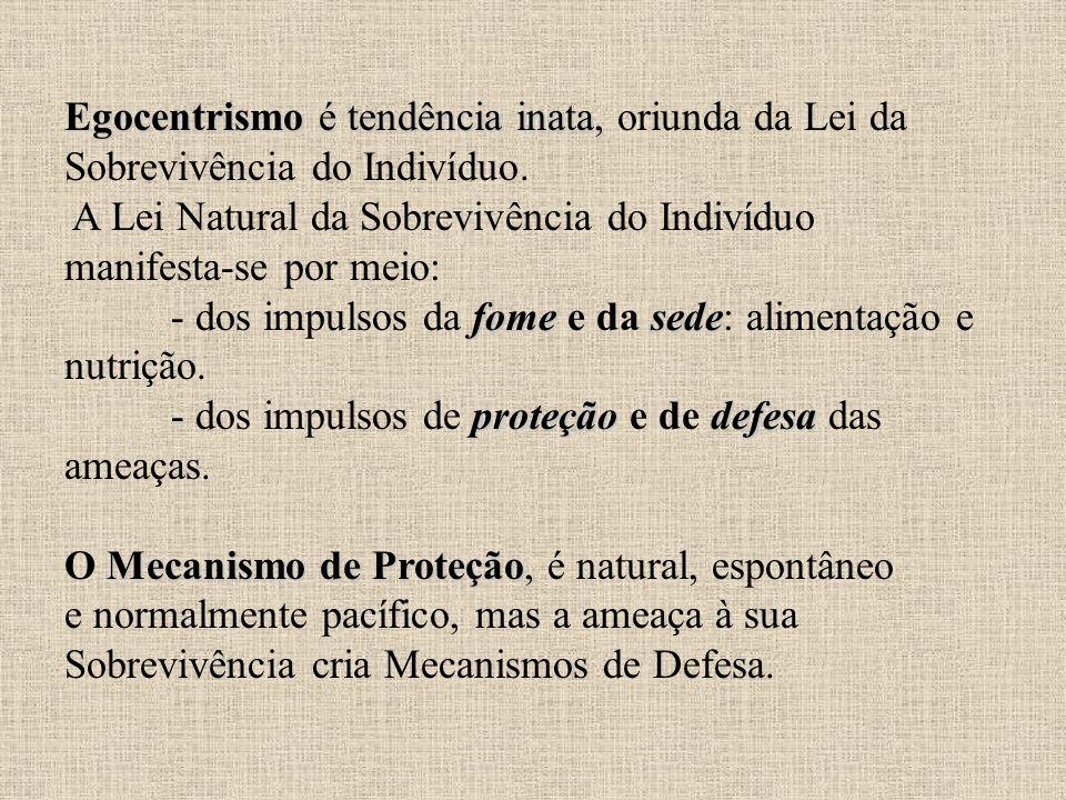 Egocentrismo é tendência inata, oriunda da Lei da Sobrevivência do Indivíduo.
