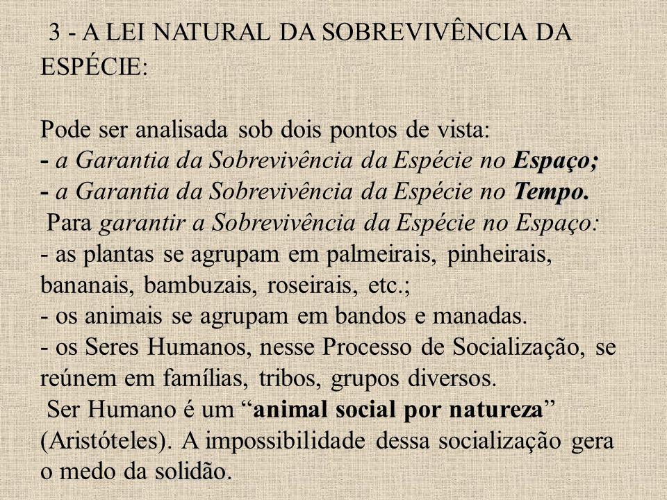 3 - A LEI NATURAL DA SOBREVIVÊNCIA DA ESPÉCIE: Pode ser analisada sob dois pontos de vista: - a Garantia da Sobrevivência da Espécie no Espaço; - a Garantia da Sobrevivência da Espécie no Tempo.