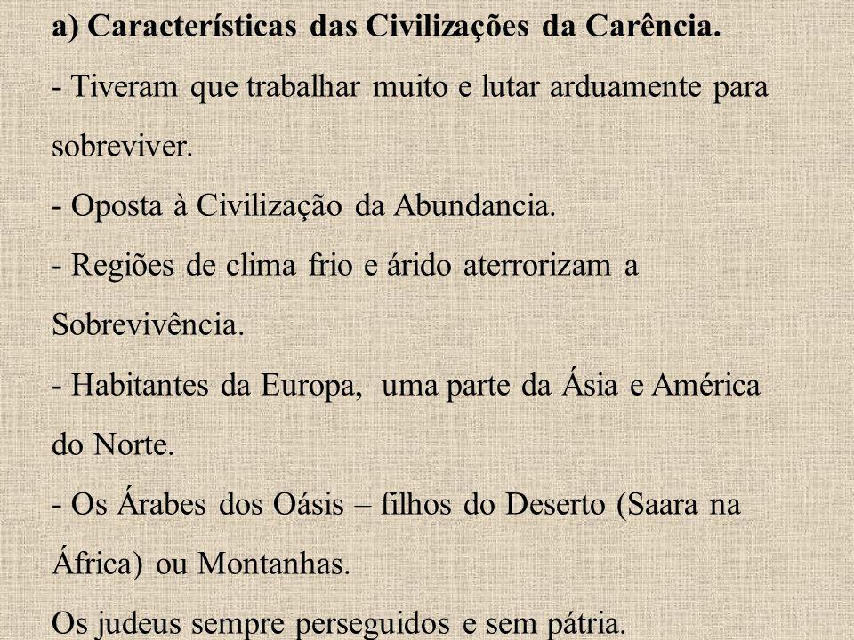 a) Características das Civilizações da Carência