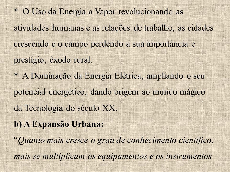* O Uso da Energia a Vapor revolucionando as atividades humanas e as relações de trabalho, as cidades crescendo e o campo perdendo a sua importância e prestígio, êxodo rural.