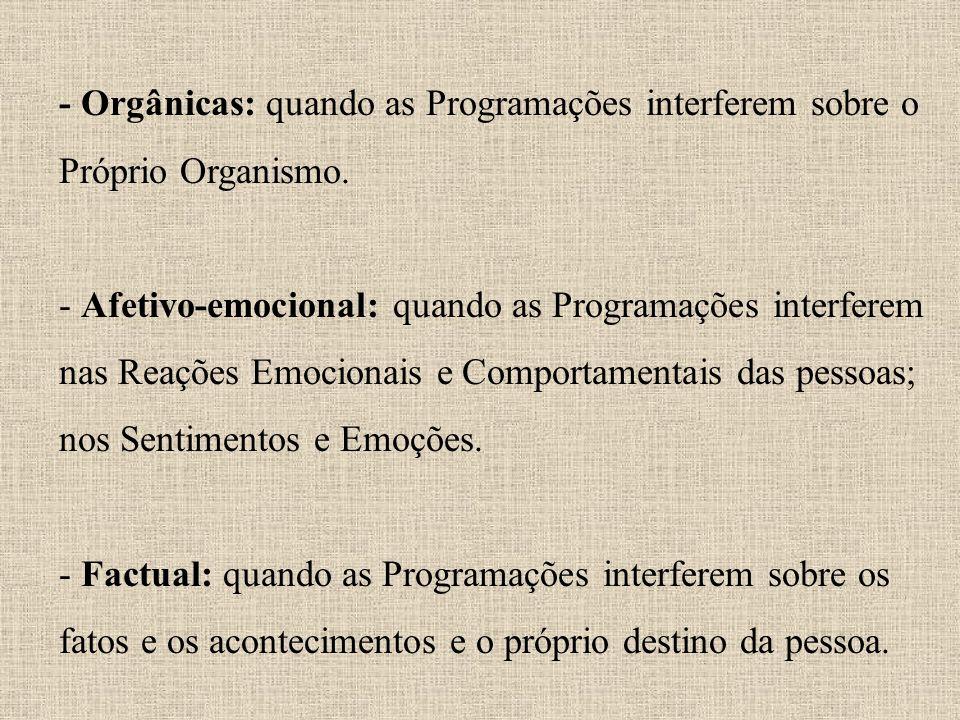 - Orgânicas: quando as Programações interferem sobre o Próprio Organismo.