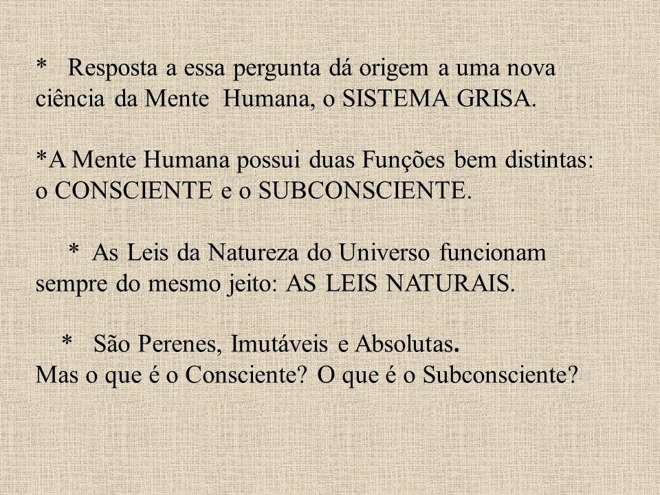 * Resposta a essa pergunta dá origem a uma nova ciência da Mente Humana, o SISTEMA GRISA.