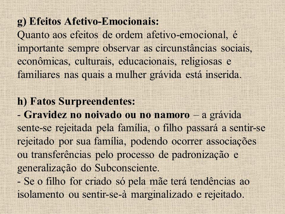 g) Efeitos Afetivo-Emocionais: Quanto aos efeitos de ordem afetivo-emocional, é importante sempre observar as circunstâncias sociais, econômicas, culturais, educacionais, religiosas e familiares nas quais a mulher grávida está inserida.