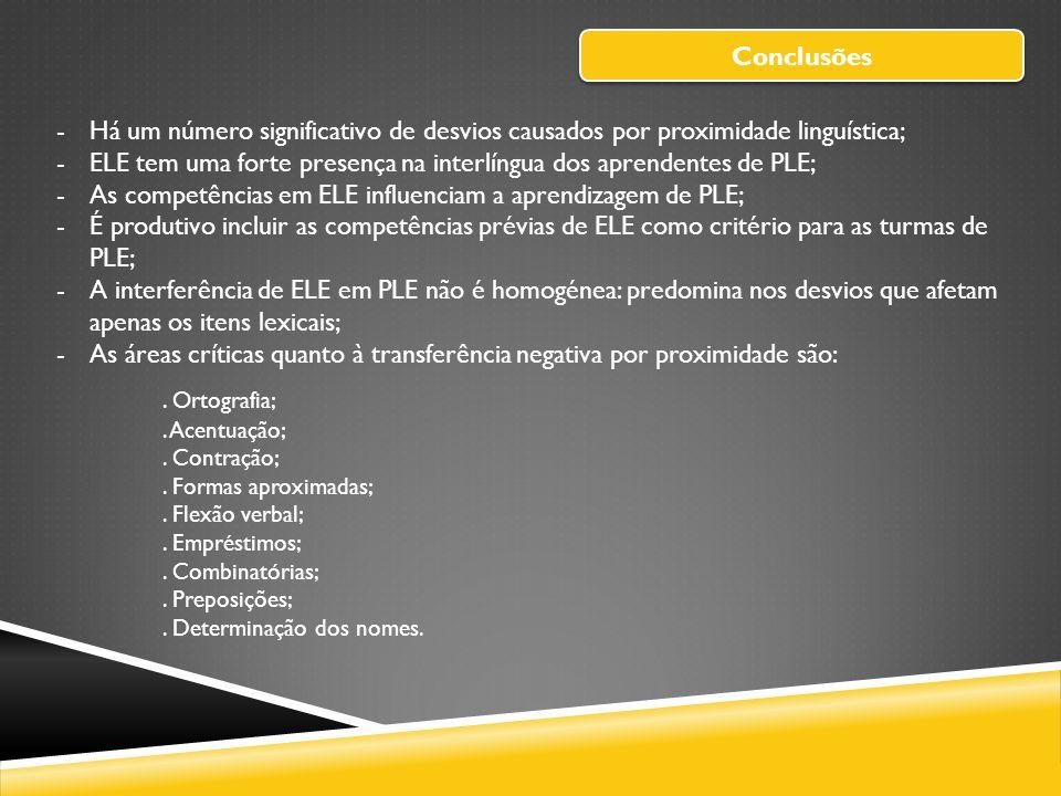ELE tem uma forte presença na interlíngua dos aprendentes de PLE;
