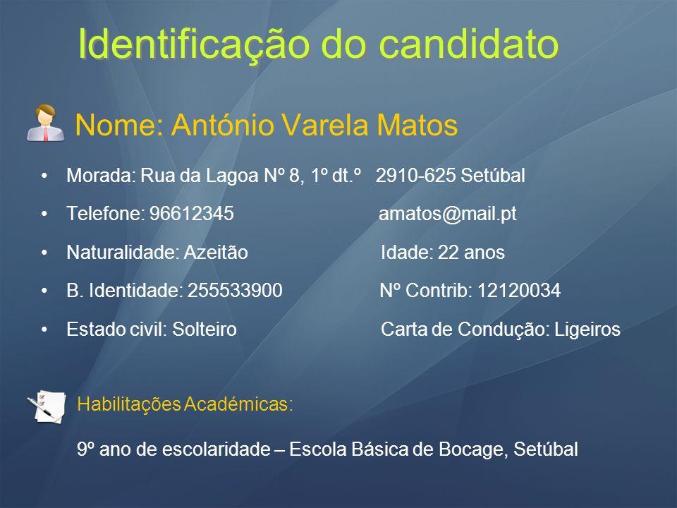 Identificação do candidato