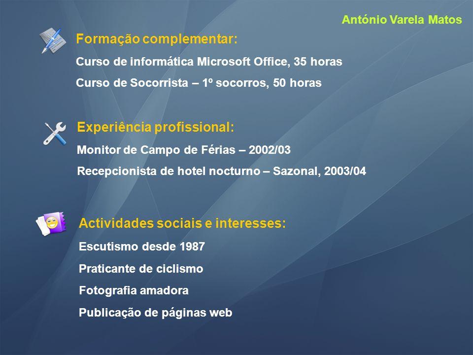 Actividades sociais e interesses: