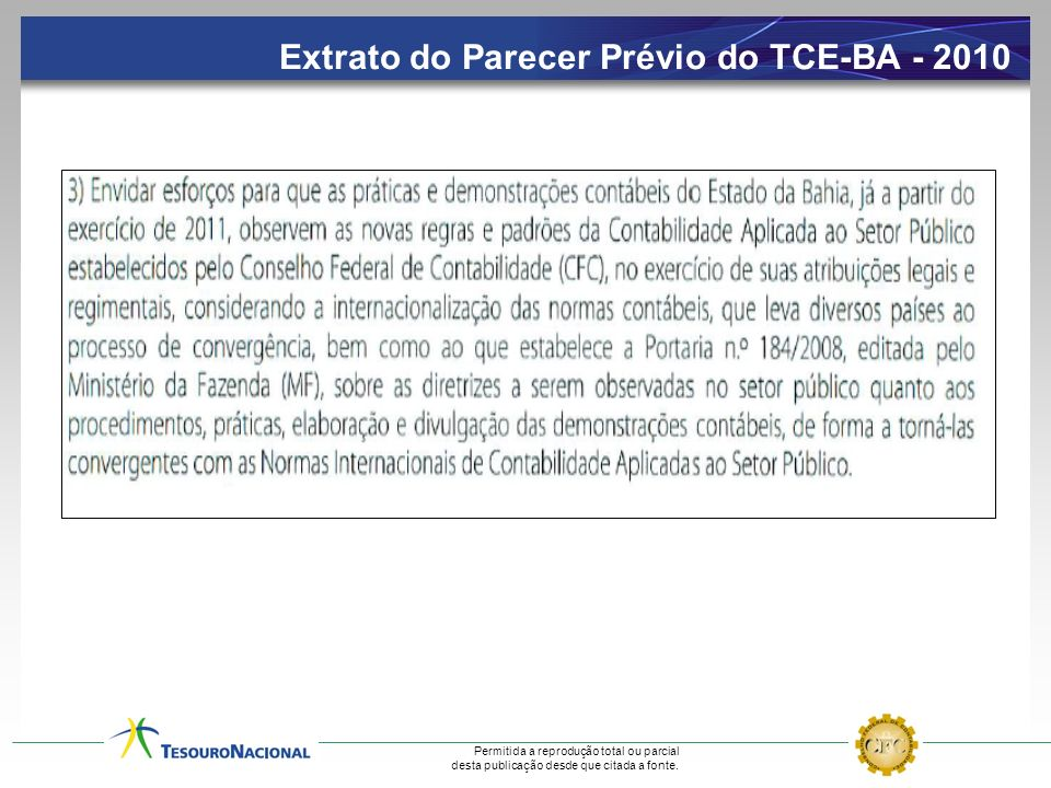 Extrato do Parecer Prévio do TCE-BA - 2010