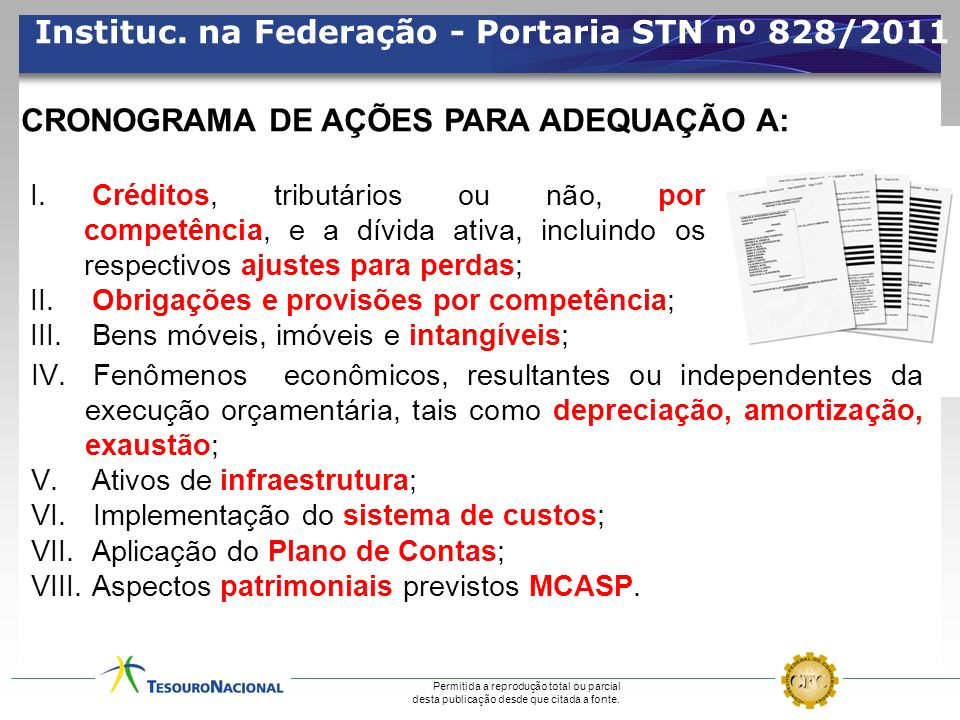 Instituc. na Federação - Portaria STN nº 828/2011