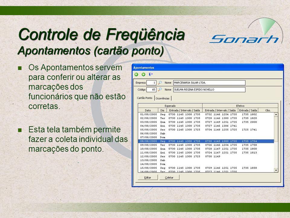 Controle de Freqüência Apontamentos (cartão ponto)