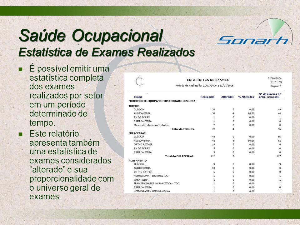Saúde Ocupacional Estatística de Exames Realizados