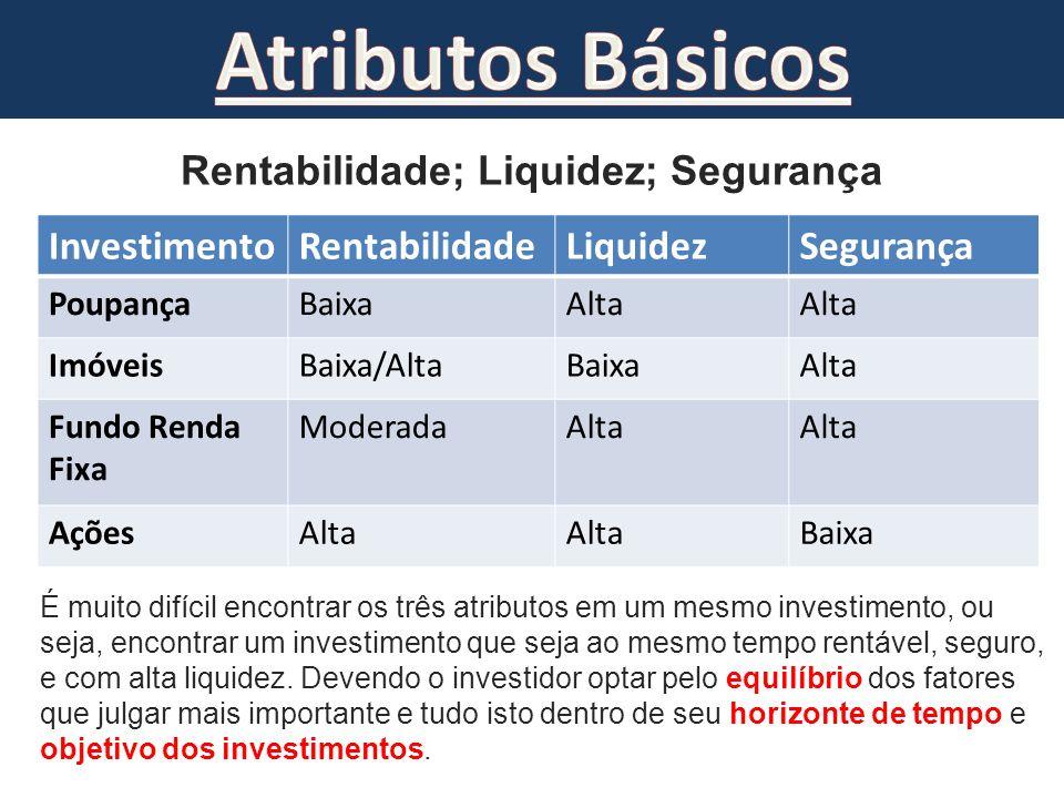 Rentabilidade; Liquidez; Segurança