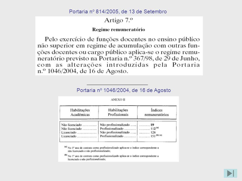 Portaria nº 814/2005, de 13 de Setembro