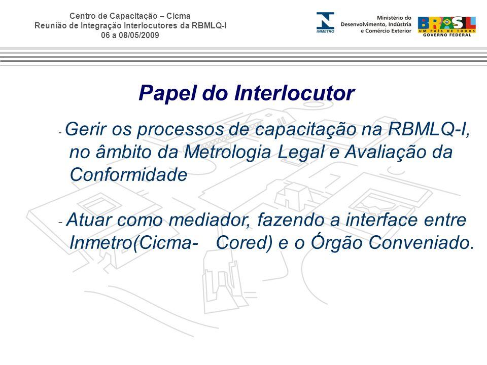 Papel do Interlocutor - Gerir os processos de capacitação na RBMLQ-I, no âmbito da Metrologia Legal e Avaliação da Conformidade.