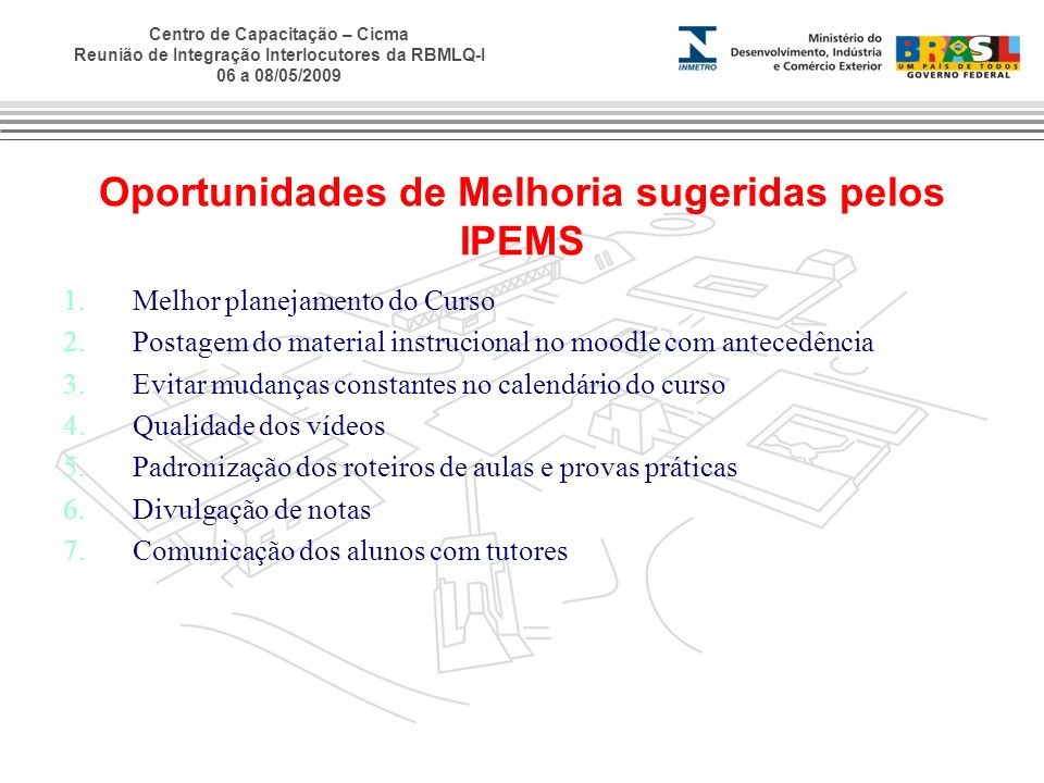 Oportunidades de Melhoria sugeridas pelos IPEMS