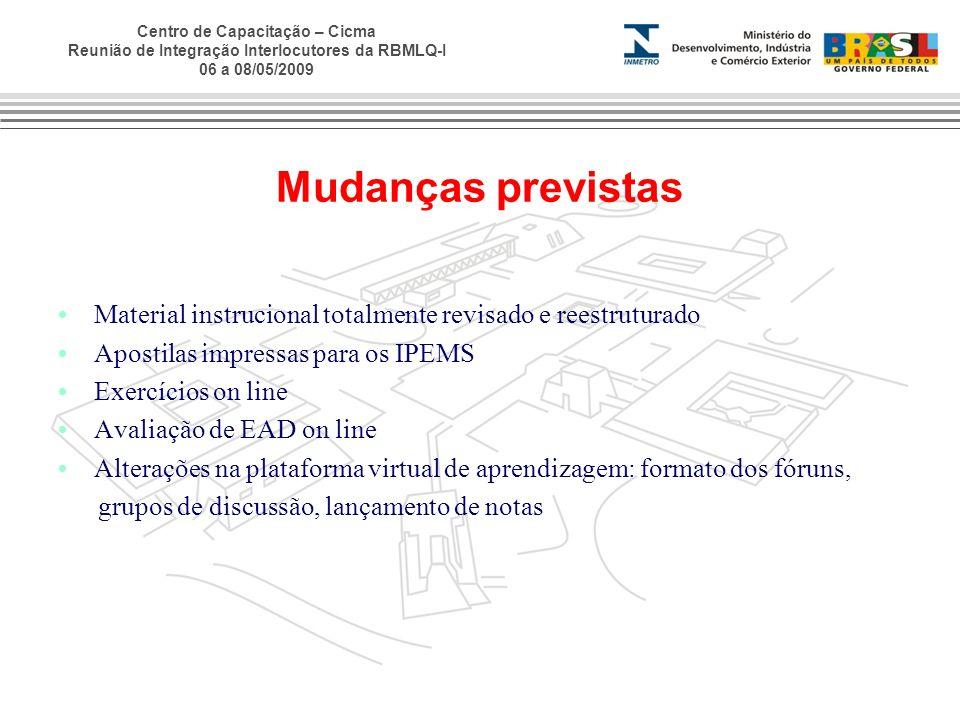 Mudanças previstas Material instrucional totalmente revisado e reestruturado. Apostilas impressas para os IPEMS.