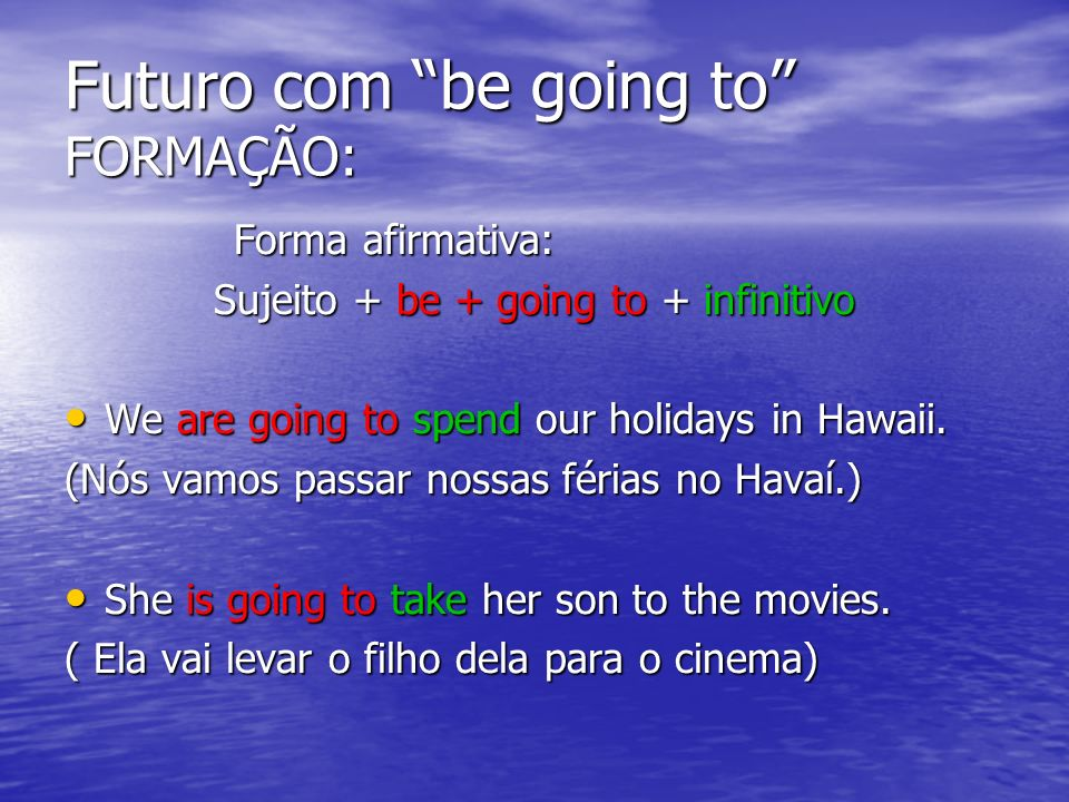Futuro com be going to FORMAÇÃO: