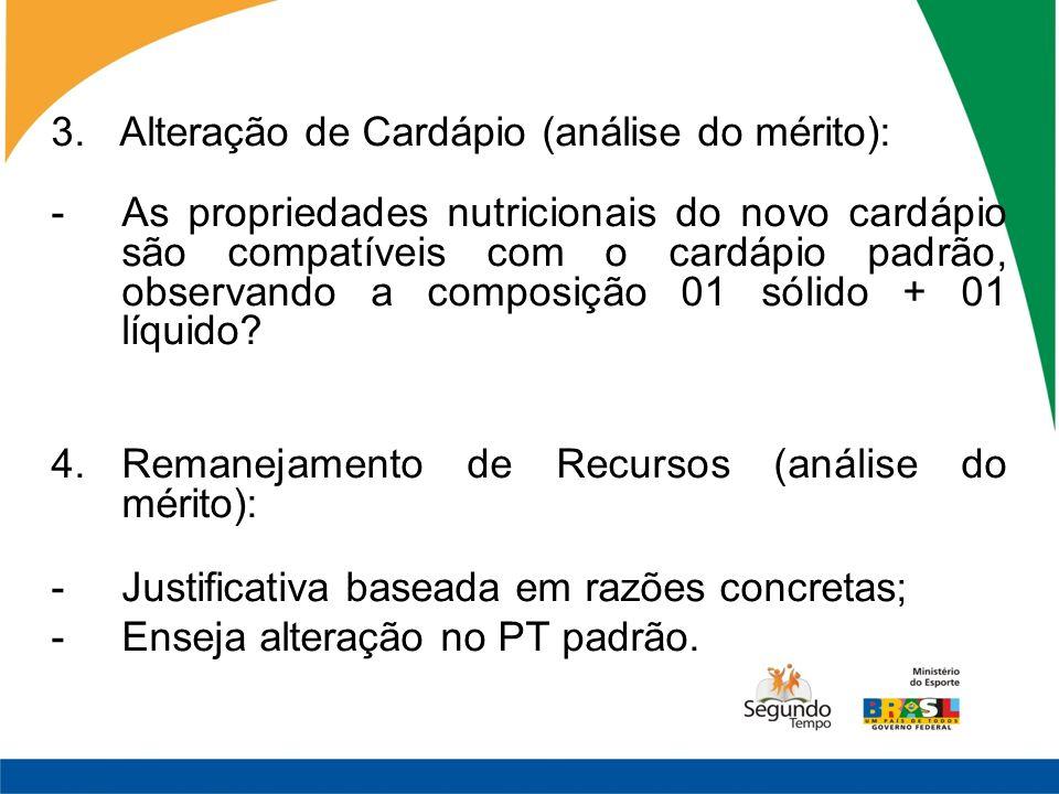 3. Alteração de Cardápio (análise do mérito):