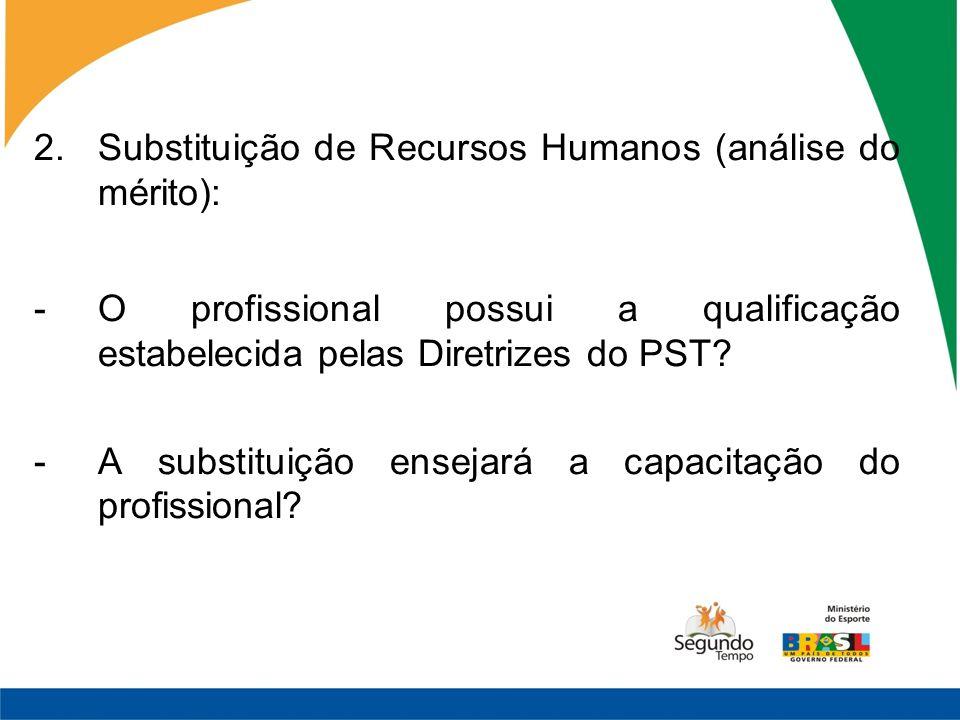 Substituição de Recursos Humanos (análise do mérito):