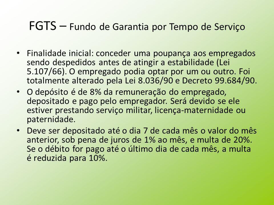 FGTS – Fundo de Garantia por Tempo de Serviço