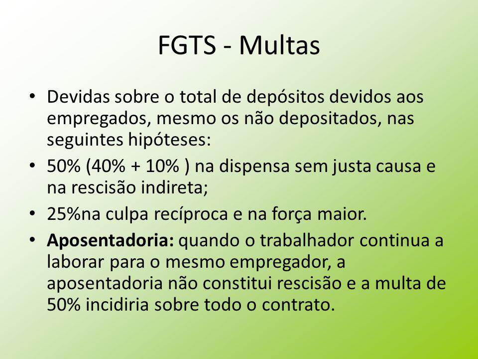FGTS - Multas Devidas sobre o total de depósitos devidos aos empregados, mesmo os não depositados, nas seguintes hipóteses: