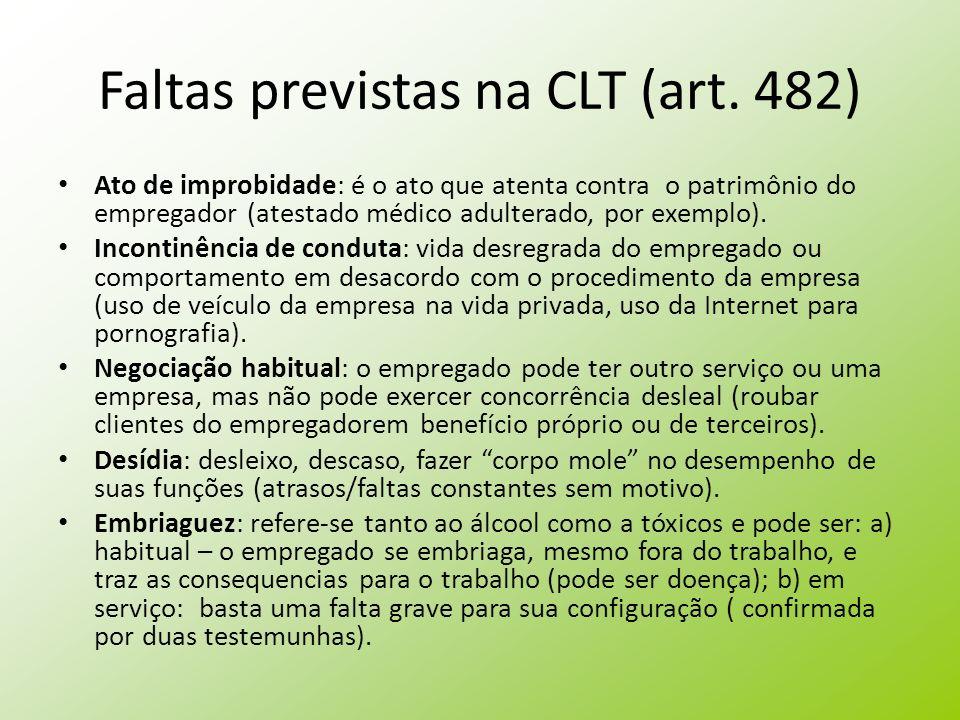 Faltas previstas na CLT (art. 482)