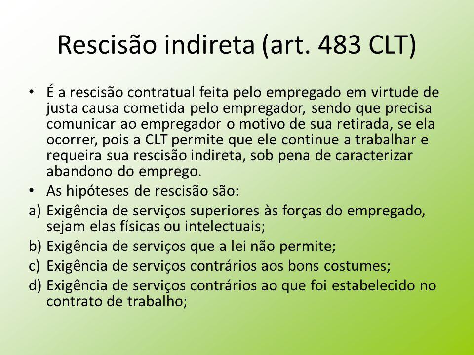 Rescisão indireta (art. 483 CLT)