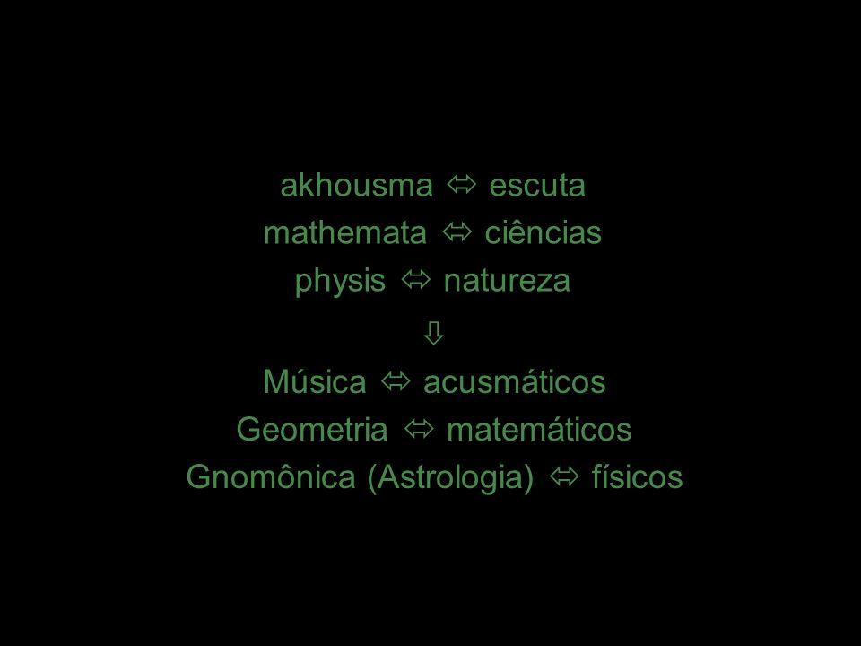 14 akhousma  escuta mathemata  ciências physis  natureza 