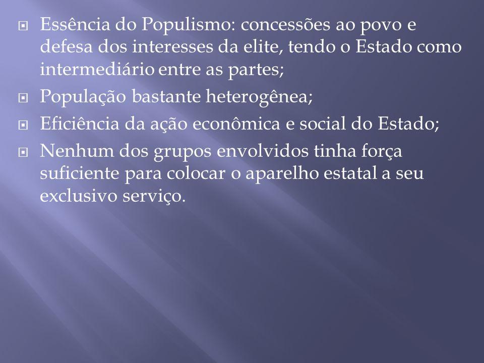 Essência do Populismo: concessões ao povo e defesa dos interesses da elite, tendo o Estado como intermediário entre as partes;
