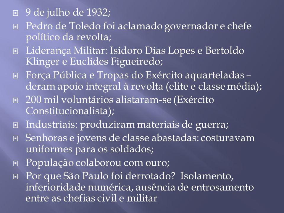 9 de julho de 1932; Pedro de Toledo foi aclamado governador e chefe político da revolta;
