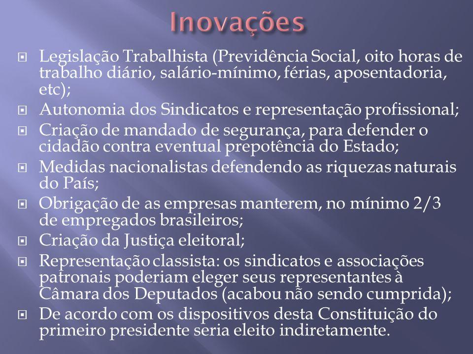 Inovações Legislação Trabalhista (Previdência Social, oito horas de trabalho diário, salário-mínimo, férias, aposentadoria, etc);