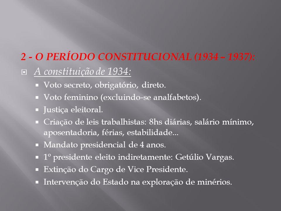 2 - O PERÍODO CONSTITUCIONAL (1934 – 1937): A constituição de 1934: