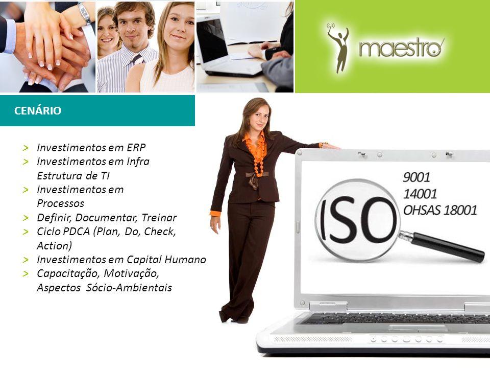 CENÁRIO > Investimentos em ERP. > Investimentos em Infra Estrutura de TI. > Investimentos em Processos.