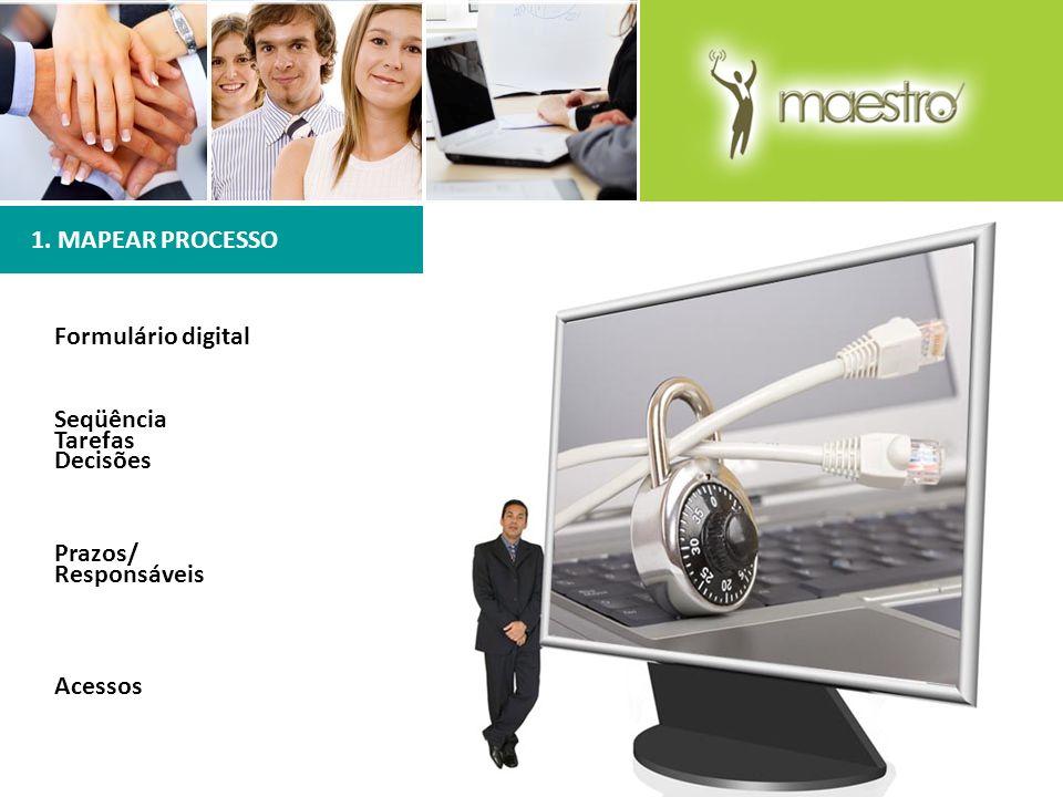 1. MAPEAR PROCESSO Formulário digital Seqüência Tarefas Decisões Prazos/ Responsáveis Acessos
