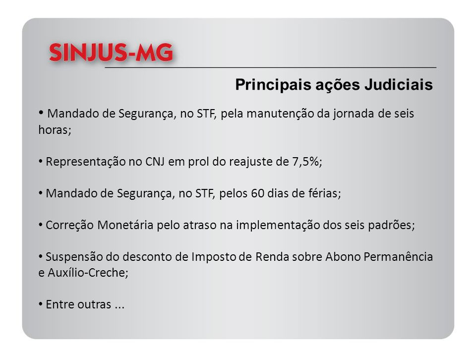 Principais ações Judiciais