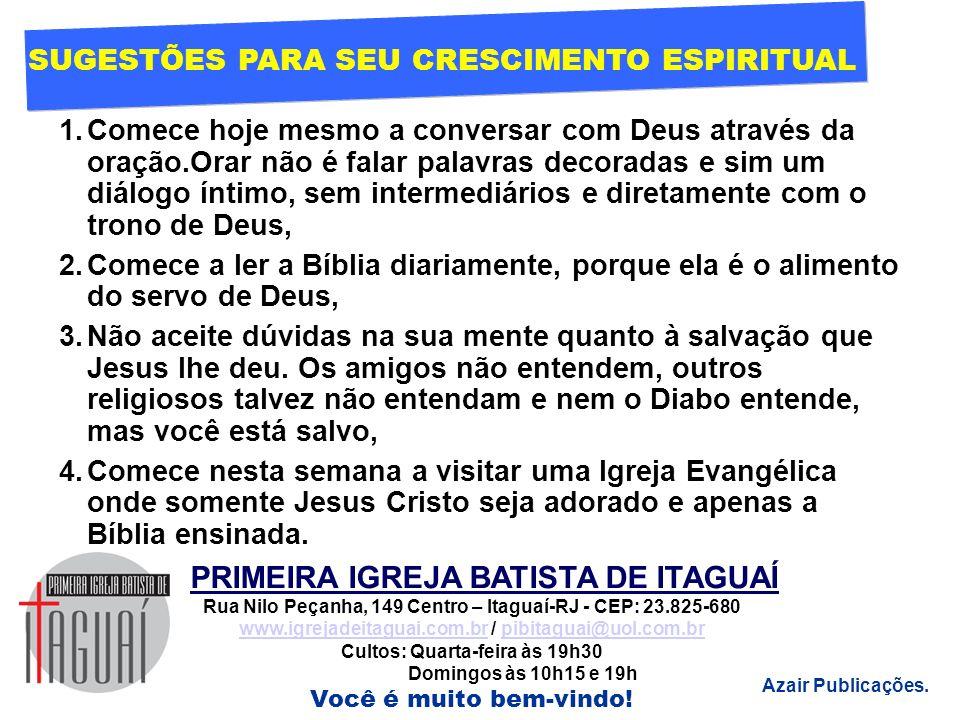 SUGESTÕES PARA SEU CRESCIMENTO ESPIRITUAL