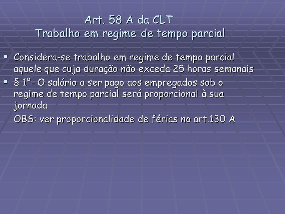 Art. 58 A da CLT Trabalho em regime de tempo parcial