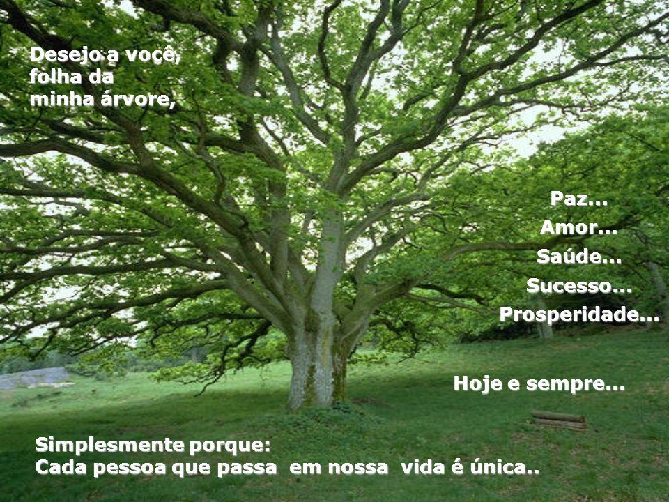 Desejo a você, folha da minha árvore, Paz... Amor... Saúde... Sucesso... Prosperidade... Hoje e sempre...