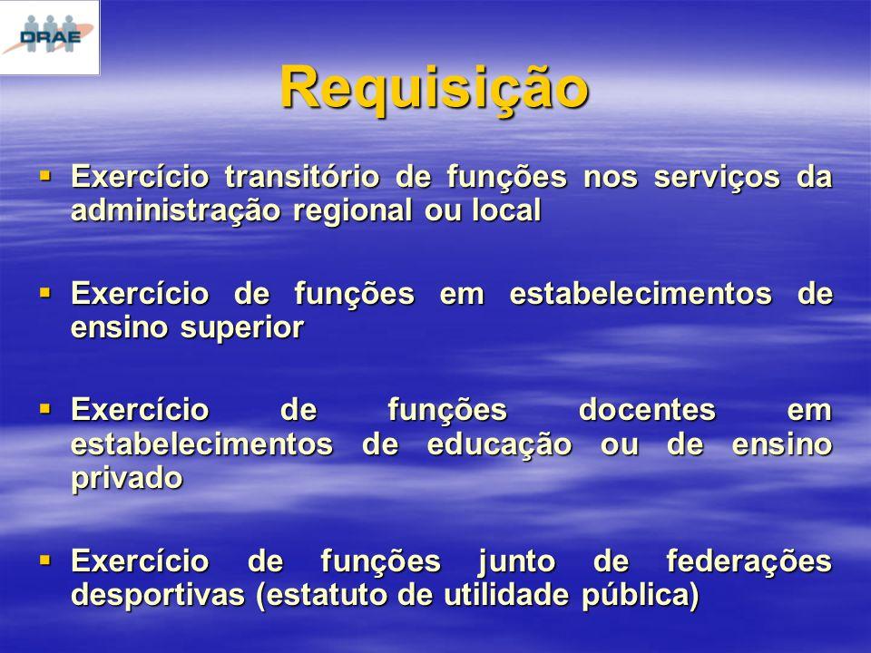 Requisição Exercício transitório de funções nos serviços da administração regional ou local.