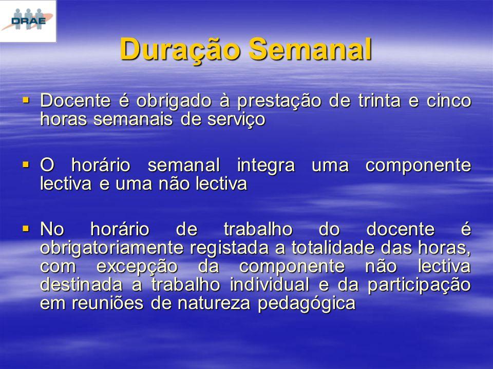 Duração Semanal Docente é obrigado à prestação de trinta e cinco horas semanais de serviço.