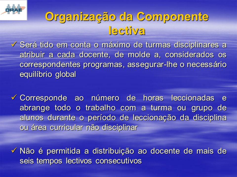 Organização da Componente lectiva