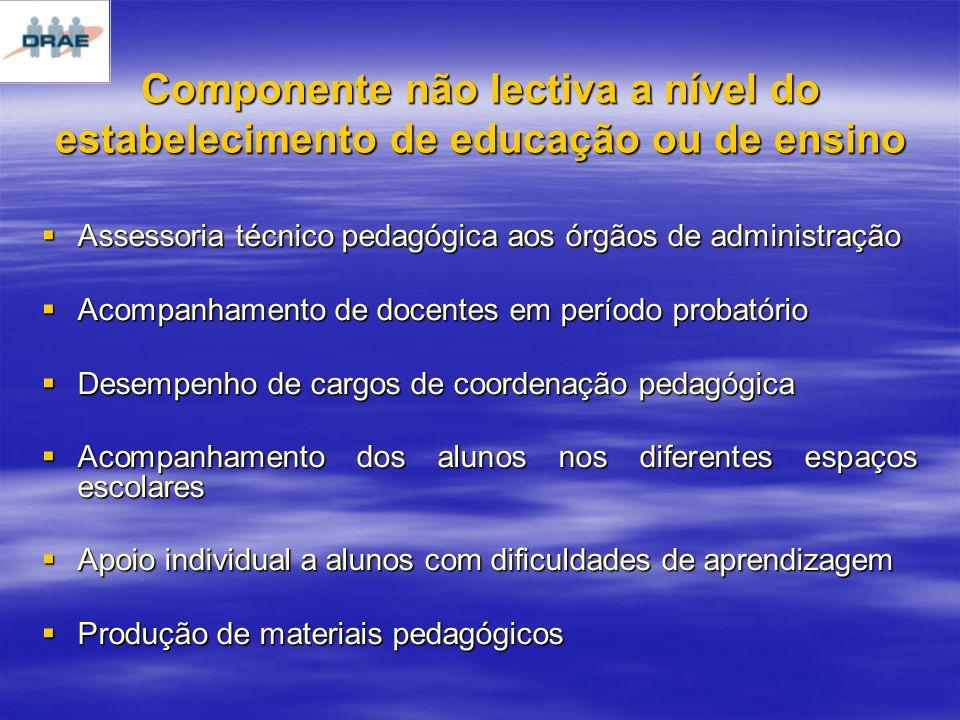 Componente não lectiva a nível do estabelecimento de educação ou de ensino