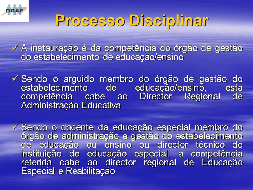 Processo Disciplinar A instauração é da competência do órgão de gestão do estabelecimento de educação/ensino.