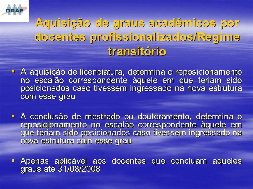 Aquisição de graus académicos por docentes profissionalizados/Regime transitório