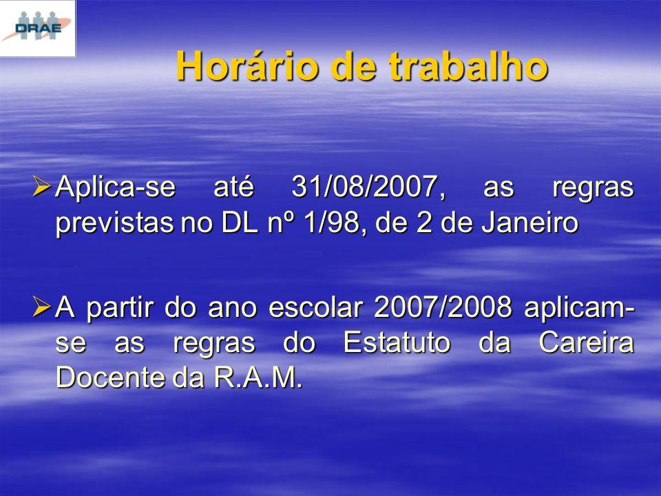 Horário de trabalho Aplica-se até 31/08/2007, as regras previstas no DL nº 1/98, de 2 de Janeiro.