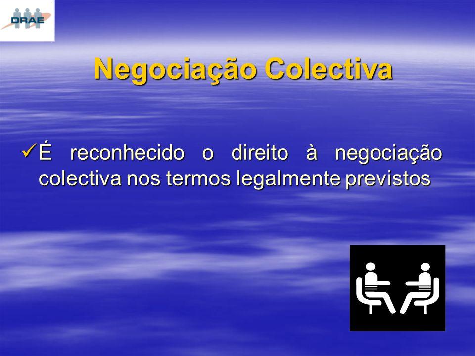Negociação Colectiva É reconhecido o direito à negociação colectiva nos termos legalmente previstos
