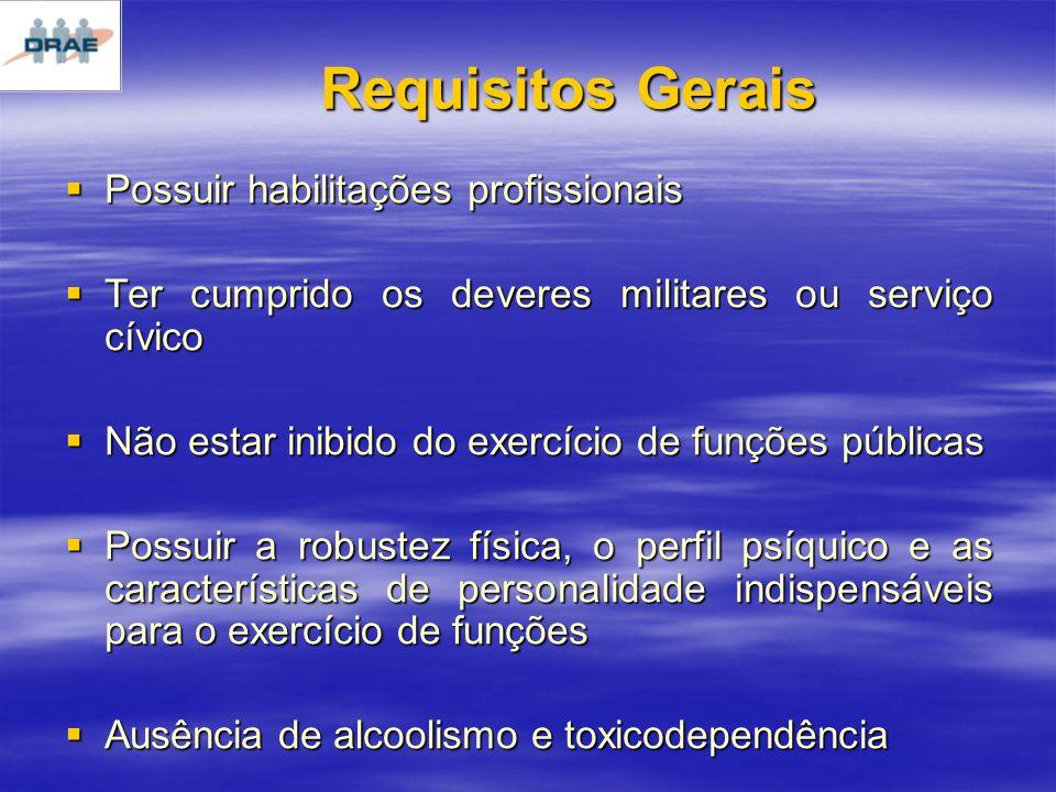 Requisitos Gerais Possuir habilitações profissionais