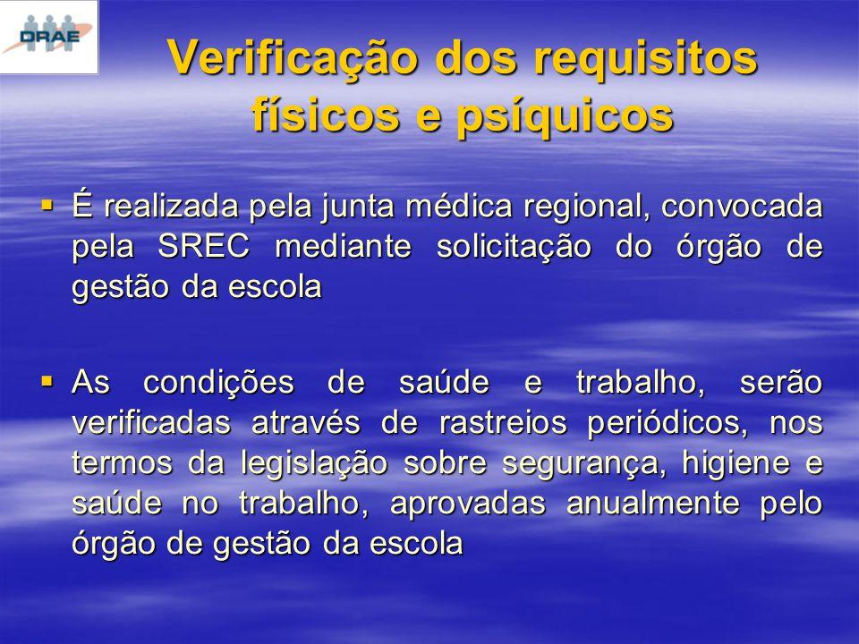 Verificação dos requisitos físicos e psíquicos
