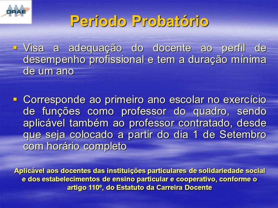 Período Probatório Visa a adequação do docente ao perfil de desempenho profissional e tem a duração mínima de um ano.